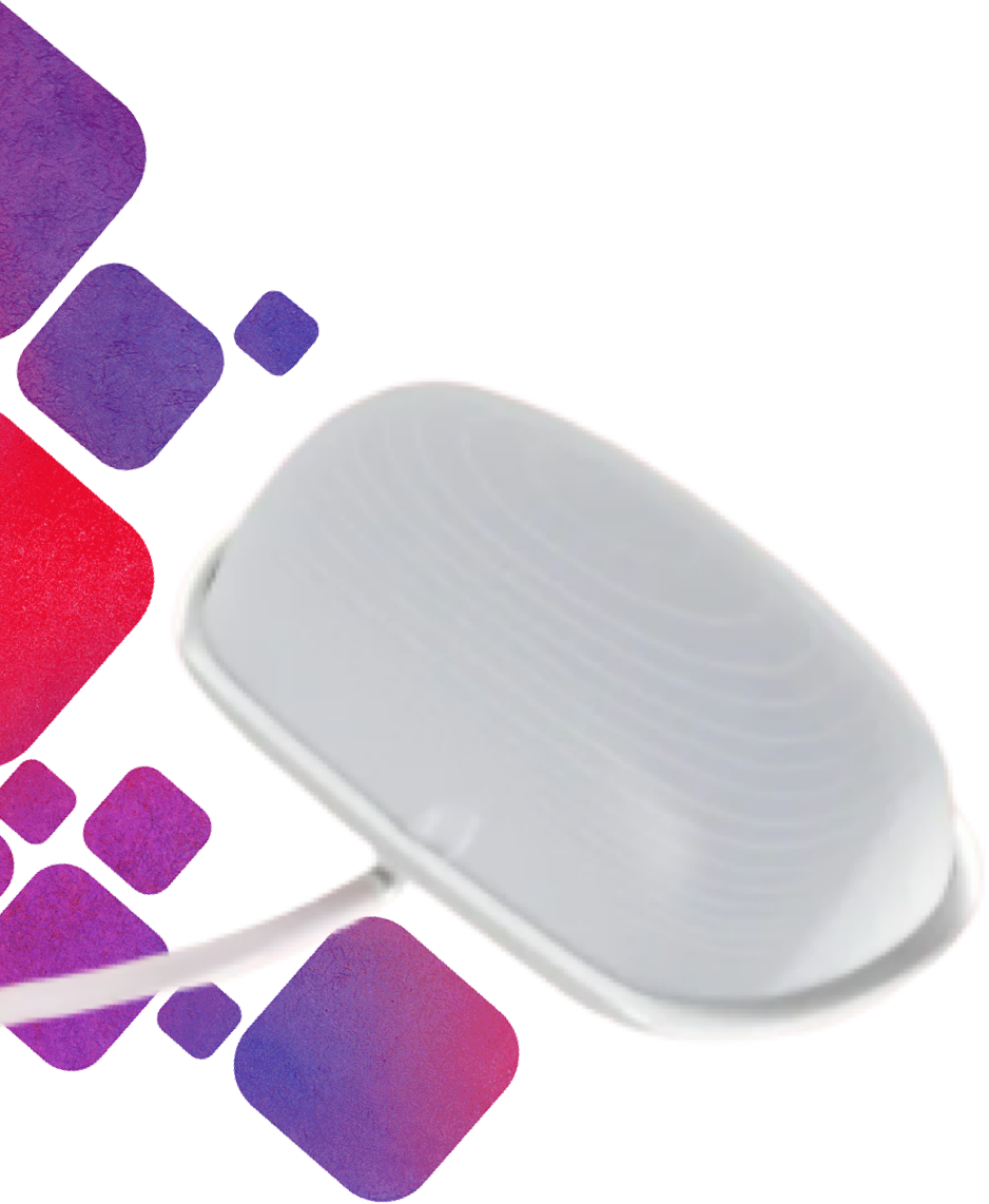Fetal Pillow, next to red and purple gradient blocks