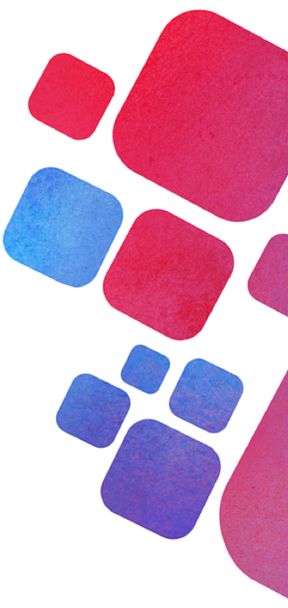 Blue, red, and purple gradient watercolor blocks